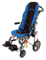 Wheelchair integrates 5-point harness for increased safety.