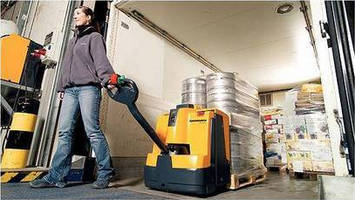 Electric Pedestrian Pallet Trucks have ergonomic features.