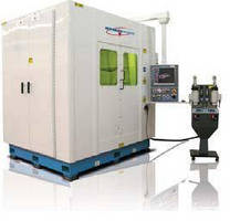 Laser Welding System has fully enclosed atmospheric chamber.