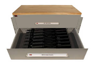 Arms Storage Cabinet incorporates multiple security features.