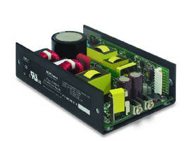 Switching AC-DC Power Supplies deliver 15 W/ in..