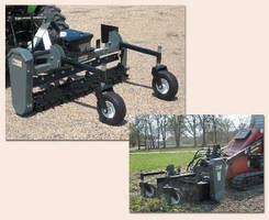Landscape Rakes attach to skid steers and 3-pt tractors.