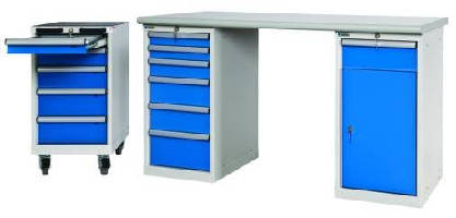 Medium Industrial Duty Cabinets serve as workbench pedestal.