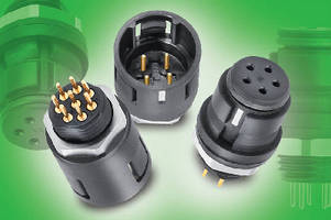 Snap-In Panel-Mount Connectors feature dip solder contacts.