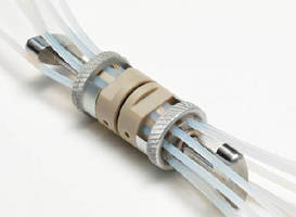 In-Line Tubing Connector aligns up to 8 high-pressure fluid channels.