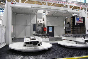 Horizontal Machining Center handles large titanium parts.