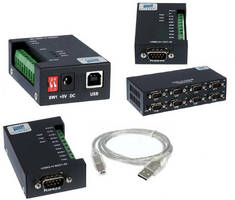 USB to RS232/422/485 Adapters come in rugged enclosure.
