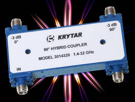 Compact 90� Hybrid Microwave Coupler covers 1.4-32.0 GHz range.