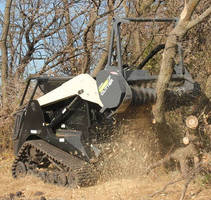 Skid Steer Mulching Attachment features full rotation mulching head.