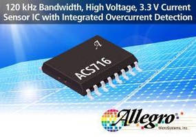 Hall-Effect Current Sensor IC integrates overcurrent detection.