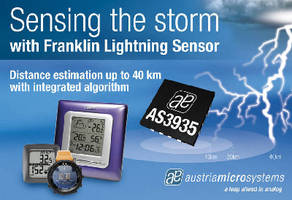 Lightning Sensor IC detects lightning up to 40 km away.