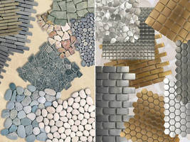 Mesh-Backed Interlocking Tiles come in stone and steel versions.