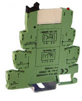 Pluggable PLC Relay mounts on DIN rail.