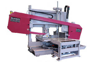 Mitering Bandsaw cuts large structural beams and profiles.