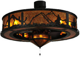 Lighting/Fan Fixture features hand-crafted western design.