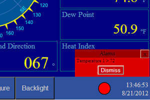 Weather Station offers definable visual and audible alarms.