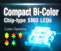 Bi-Color Chip-Type SMD LEDs measure 3.2 x 2.7 x 1.1 mm.