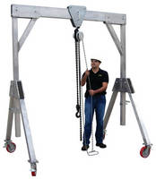Portable Aluminum Gantry Lift has lockable legs and casters.