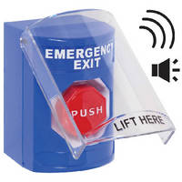 Pushbutton Cover sounds alert and sends signal when lifted.