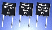Radial Resistors are available from 1 Ohm to 100 Meg.