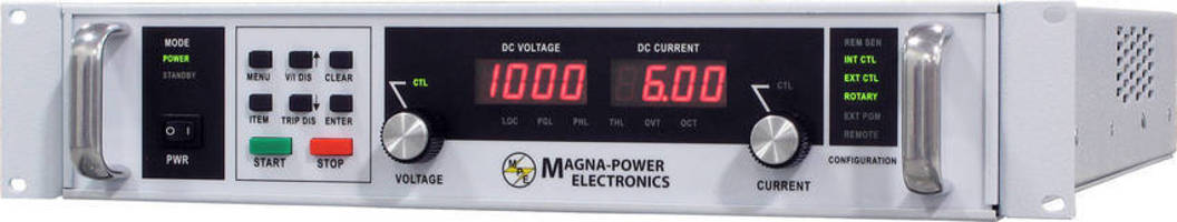 Programmable DC Power Supplies are offered in 2U package.