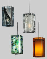 Lighting Pendants are made of fused and art glass.