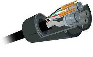 Hybrid Connector combines fluidics/electronics/tubing/cable.