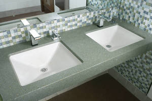 Lavatory is made of Evero(TM) natural quartz material.