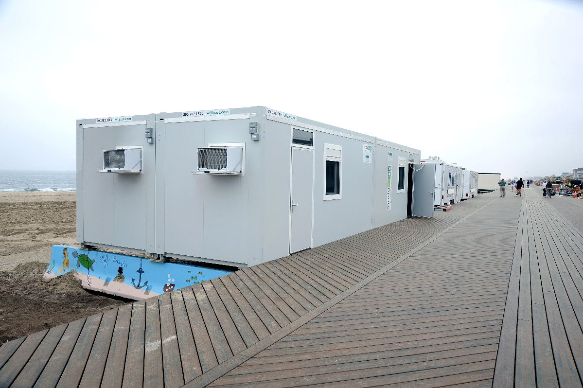 A William Scotsman modular office building was used in Belmar, N.J., after Hurricane Sandy.