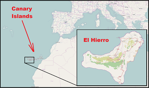 Map showing Canaries and El Hierro