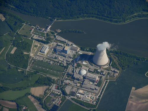 Aerial view of Isar II nuclear plant in Germany