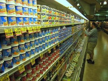 Yogurt in a grocery store