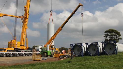 Erecting a wind turbine