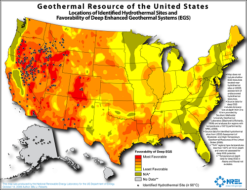 Map of US geothermal resources