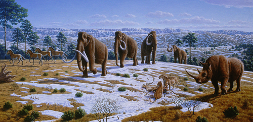 Painting of Pleistocene landscape