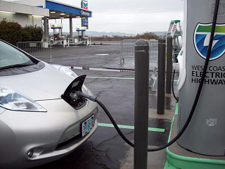 Photo, charging an electric vehicle
