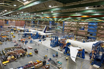 Four Boeing 787 Dreamliners in final assembly. Credit: Boeing.