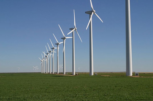 Not just corn, but wind, too: an Iowa wind farm installation.
