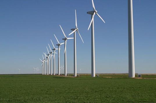 Not just corn, but wind, too: an Iowa wind farm installation.