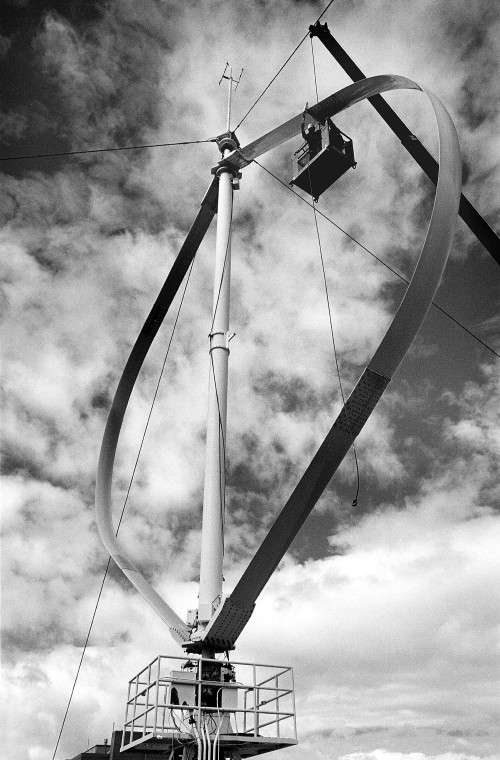 Vertical axis wind turbine. Photo credit: Randy Montoya for Sandia