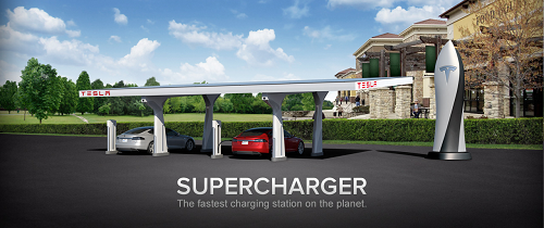 Supercharger station. Courtesy of Tesla.
