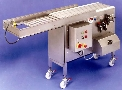 Shuttle Conveyor transfers product between belt widths.