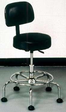 Industrial Stool is vinyl-upholstered.