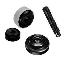 Thrust Pads/Grub Screws provide clamping force.