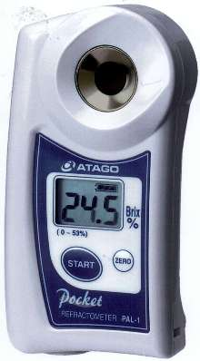 Refractometer has digital display and compact design.