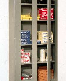 Storage Cabinets have double doors with Plexiglas® inserts.