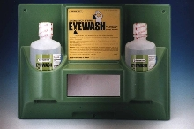 Eye-Wash Stations hold replaceable bottles.