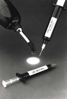 Epoxy Adhesive cures under UV light.