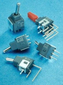 Toggle Switches mount on printed circuit boards.