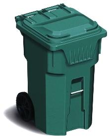 Waste Handling Cart holds 96 gal of garbage.